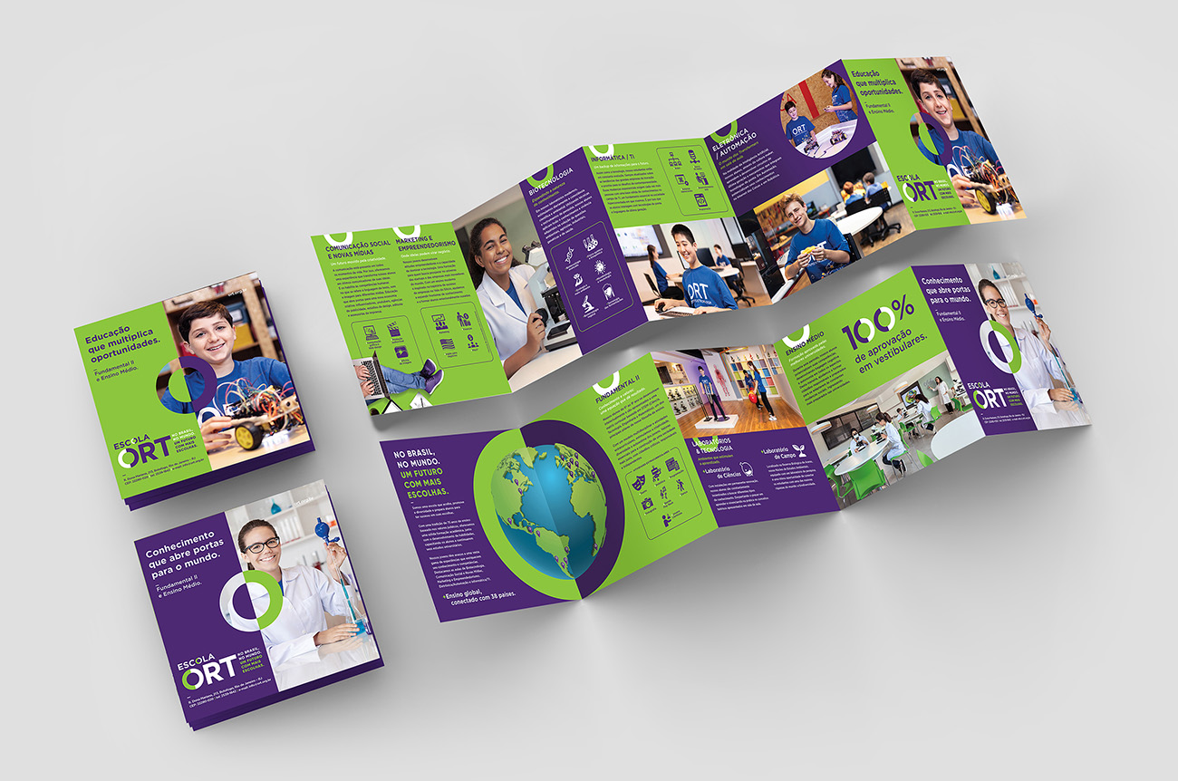 10 page leaflet, 5 panel accordion fold square brochure mock up isolated on light gray background. 3D illustrating.